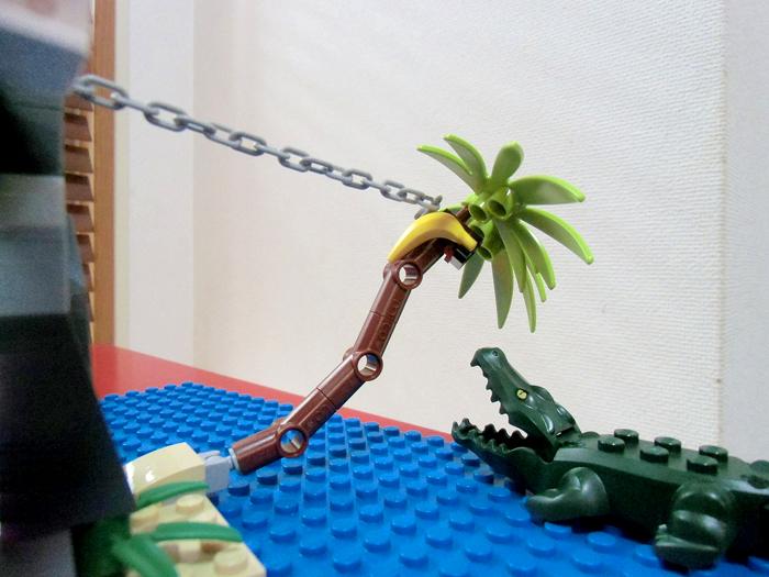 バナナの木をひっぱると