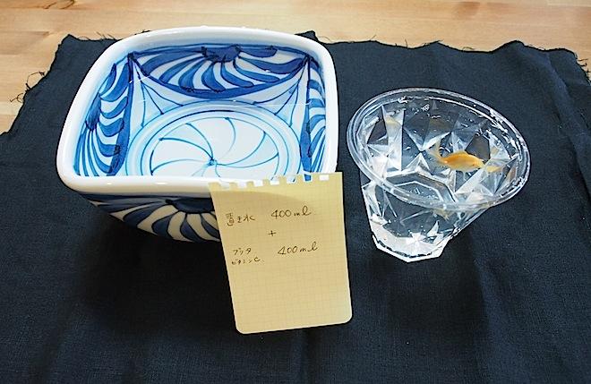 置き水とカルキを抜いた水半々で