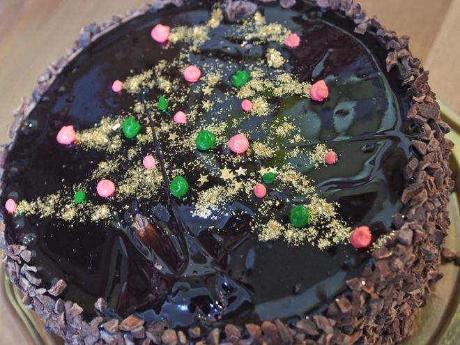 ケーキにクリスマスツリーの絵