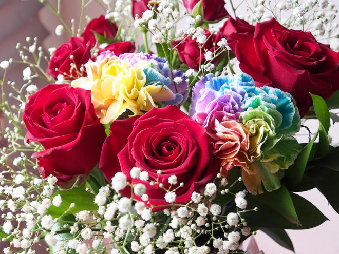 花束全体、いつものレンズで