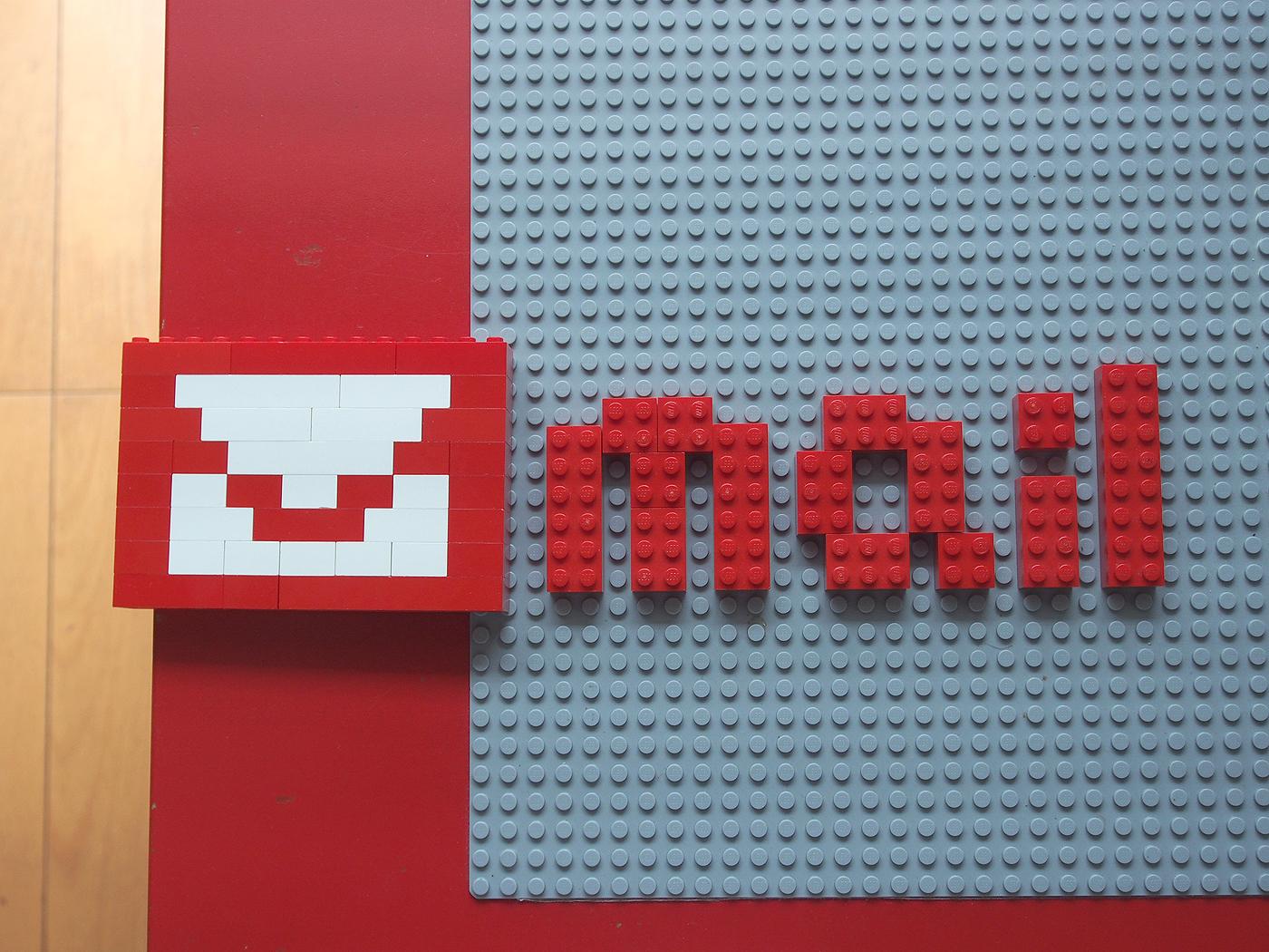 mail、レゴで作った文字