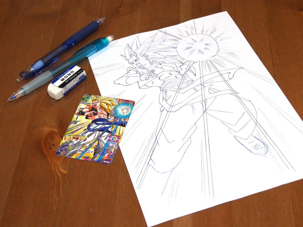 鉛筆とボールペンでゴジータを描く