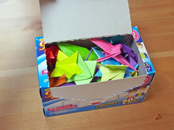 マスクの箱には折り紙