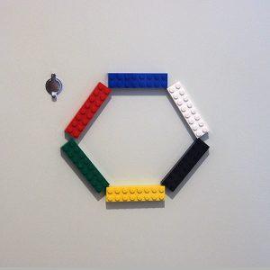 玄関レゴ、六角形