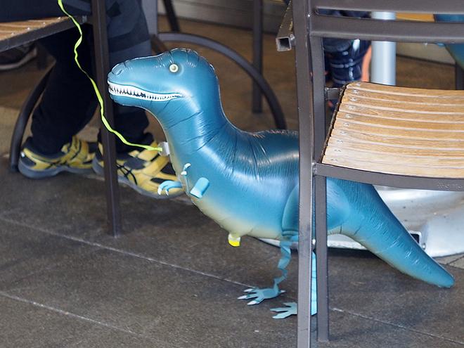 カフェ、お散歩バルーン、恐竜