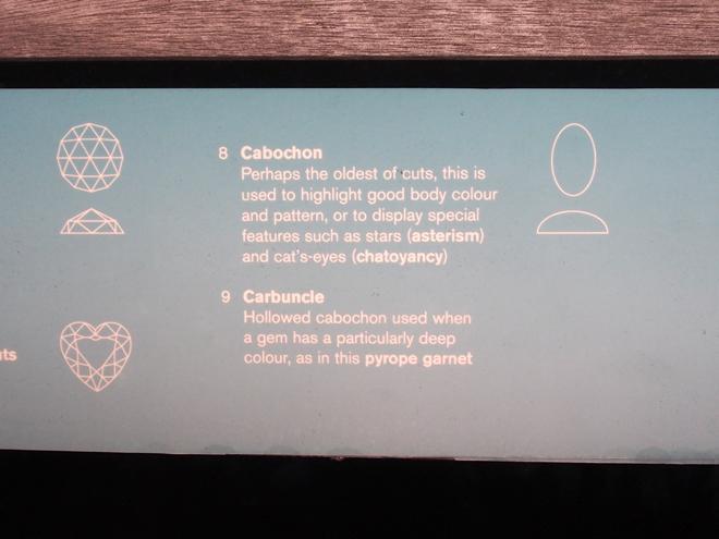 自然史博物館、カボションカットの説明