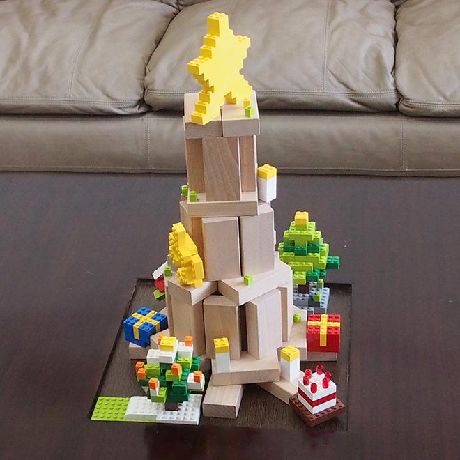 積み木とレゴのクリスマスツリー