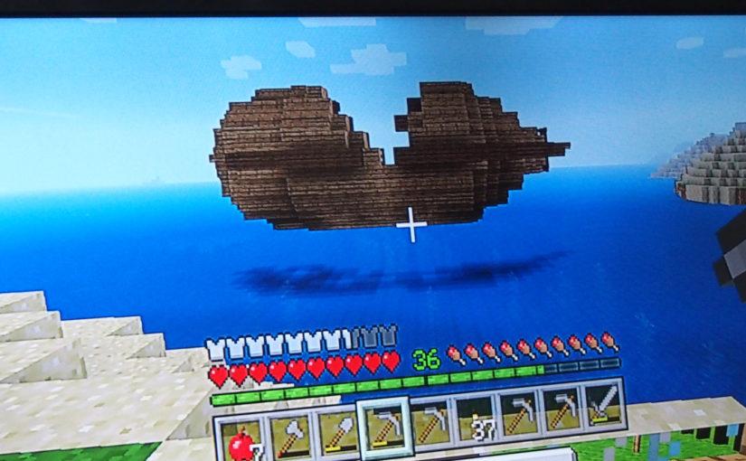 マイクラの景色|空に浮かんだ沈没船